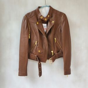 NWT Michael Kors Brown Leather Belted Moto…